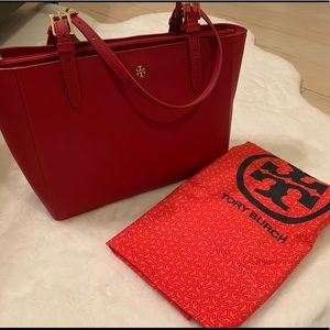 💯 Authentic Tory Burch Red York Tote